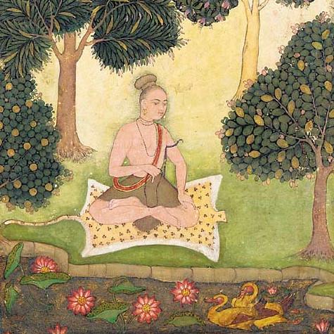 Yogi au jardin, illustration d'un manuscrit du XVIème siècle